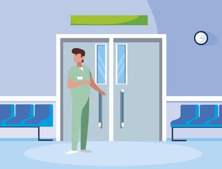 male medicine worker with uniform in elevator door vector illustration design