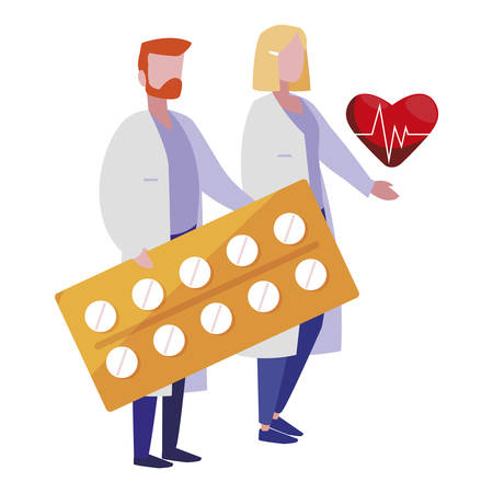 couple doctors with heart cardio and pills vector illustration design