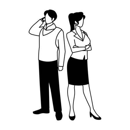 business couple standing on white background vector illustration design Archivio Fotografico - 134855847