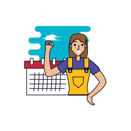 worker construction woman with calendar reminder vector illustration design Vectores