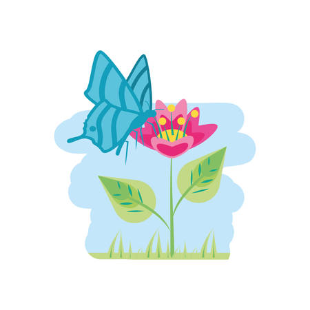 beautiful flower natural in branch with leafs and butterfly vector illustration design Standard-Bild - 134855654