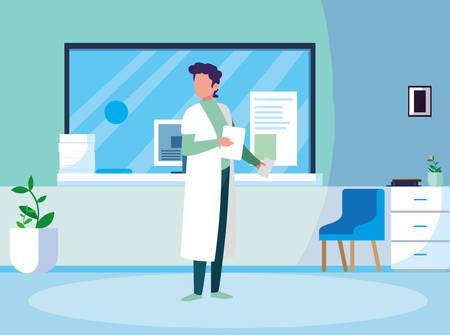 male medicine worker with uniform in clinic reception vector illustration design Ilustração
