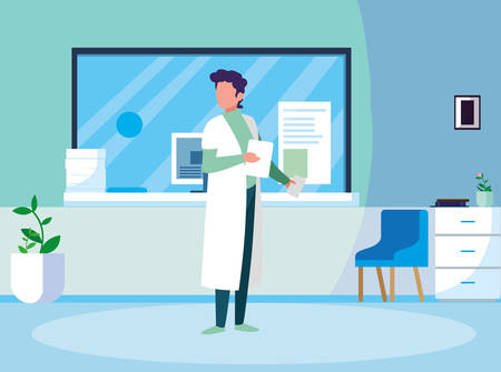 male medicine worker with uniform in clinic reception vector illustration design Illustration