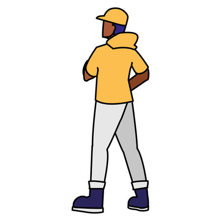 adventurous black man with cap avatar character vector illustration design
