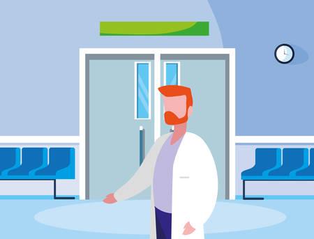 male medicine worker in entrance to the operating room vector illustration design Ilustração