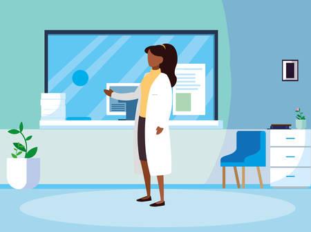 afro female medicine worker in clinic reception vector illustration design