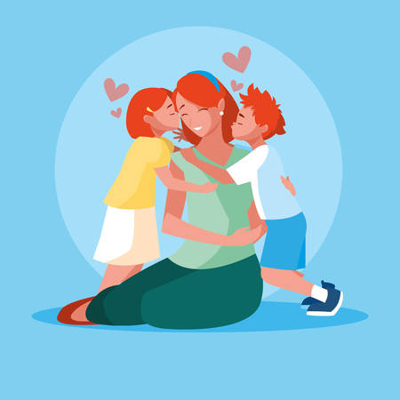 mother with cute children avatar character vector illustration design Ilustrace