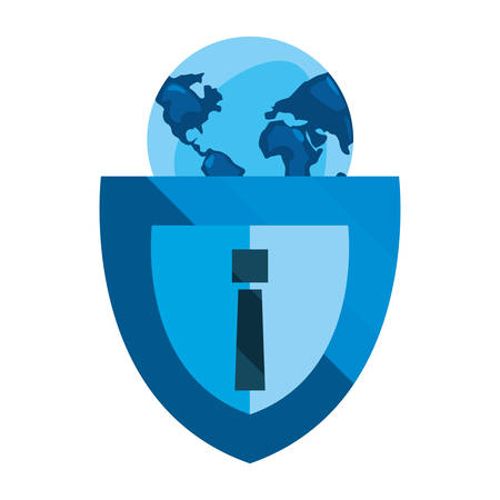shield alert world cybersecurity data protection vector illustration