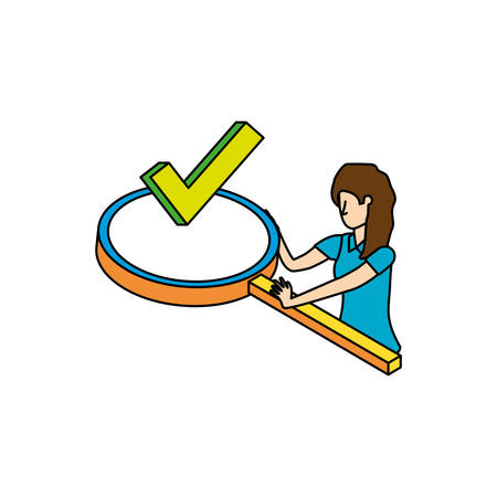 businesswoman with magnifying glass vector illustration design