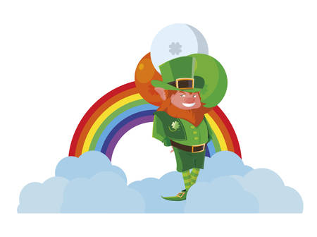 saint patrick lemprechaun with balloons helium and rainbow vector illustration