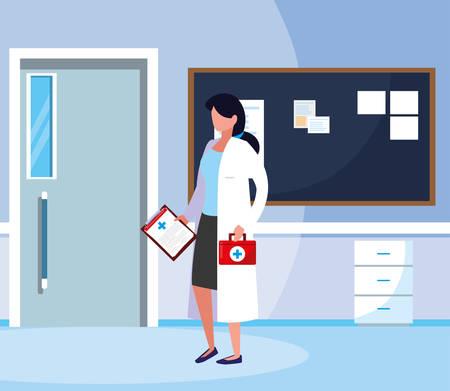 female medicine worker in hospital corridor vector illustration design Ilustração