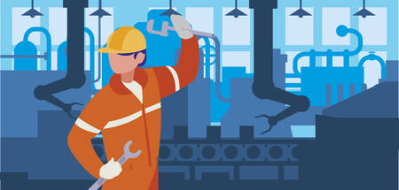 worker in factory workplace vector illustration design Standard-Bild - 134863069