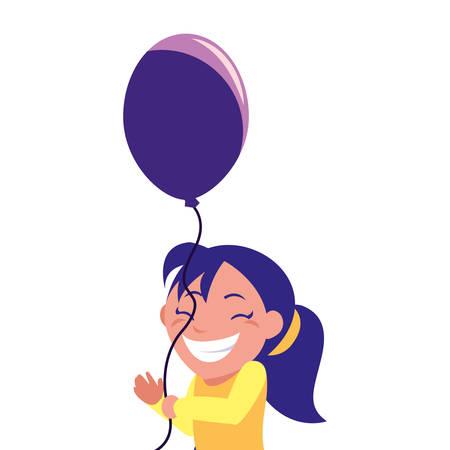 happy girl holding balloon white background vector illustration Ilustracja