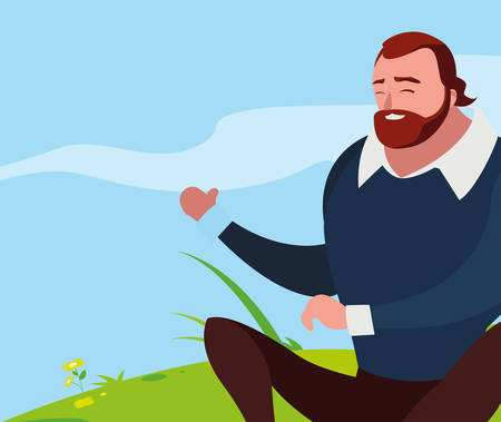strong and bearded man seated in the field vector illustration design Standard-Bild - 134864021