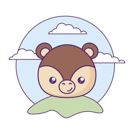 head of cute little bear baby in landscape vector illustration design Illusztráció