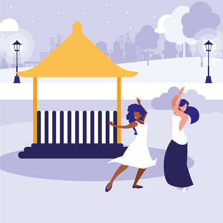 young interracial girls dancing in the park vector illustration design Ilustracja