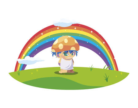 fungu elf with rainbow magic character illustration design