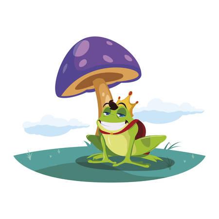 toad prince in garden fairytale character vector illustration design Illusztráció