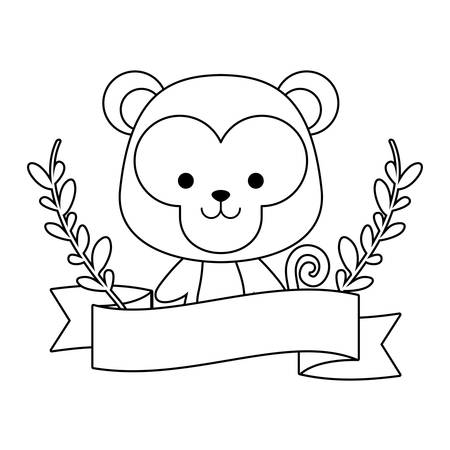 cute monkey with ribbon and branches of leafs vector illustration design