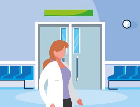 female medicine worker in the operating room entrance vector illustration design Ilustração