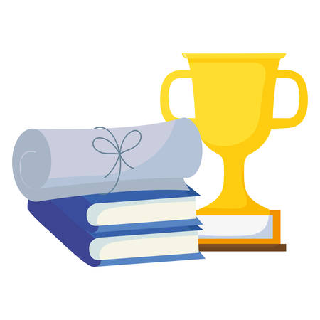 text books with trophy and certificate vector illustration design