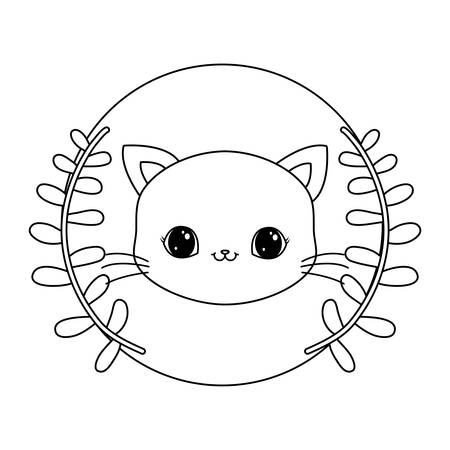 head of cute cat in frame circular with crown of leafs vector illustration design Illusztráció