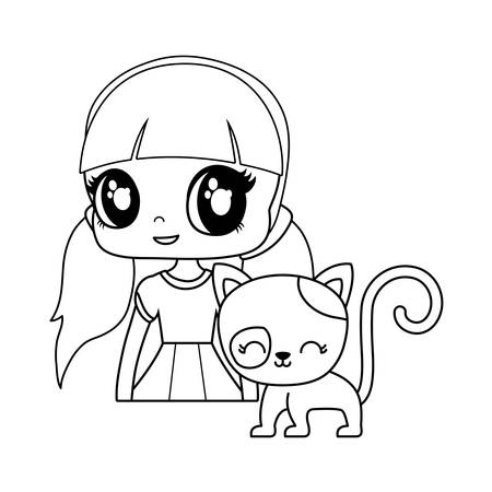 cute little doll with cat animal vector illustration design Foto de archivo - 134874784