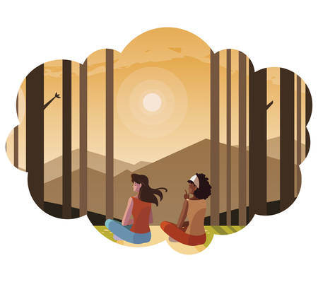 women couple contemplating horizon in the forest scene vector illustration design