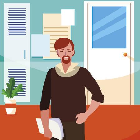 teacher male in the school corridor vector illustration design