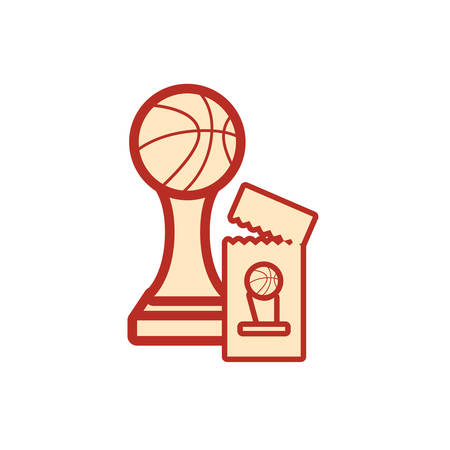 trophy ticket basketball sport award vector illustration Foto de archivo - 134874069
