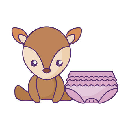 cute little reindeer baby with diaper of girl vector illustration design Foto de archivo - 134874977