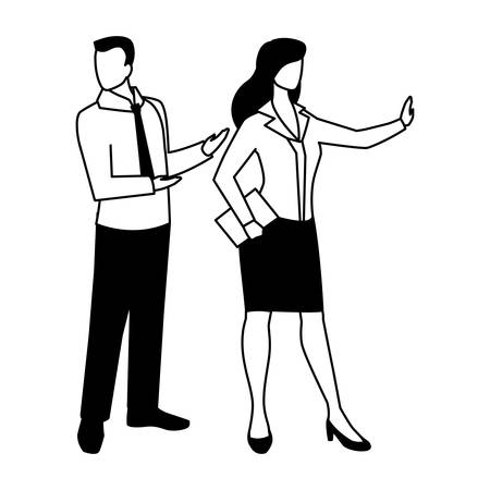business couple standing on white background vector illustration design Ilustracja