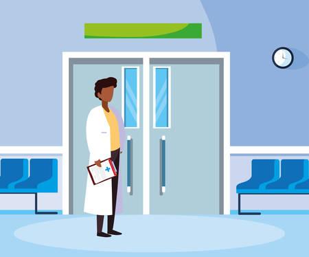 afro male medicine worker in the operating room entrance vector illustration design