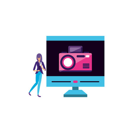 young woman using smartphone with desktop vector illustration design