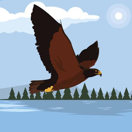 beautiful eagle in the lake majestic bird vector illustration design Ilustracja