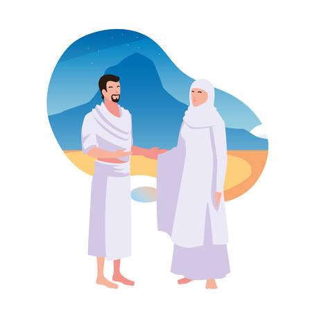 couple of people pilgrims hajj , day of Dhul Hijjah vector illustration design Illusztráció
