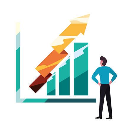 businessman report diagram arrows profit vector illustration