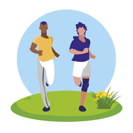 athletic interracial men running in the camp vector illustration design