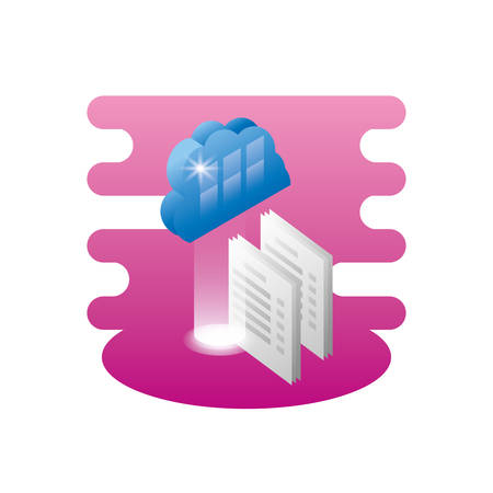 cloud computing server with documents vector illustration design