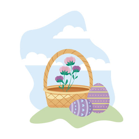 eggs of easter with basket wicker and flowers vector illustration design