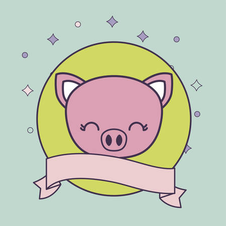 head of cute piggy animal with ribbon vector illustration design