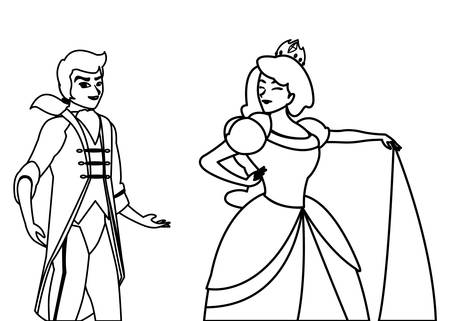 prince charming and princess of tales characters vector illustration design Ilustracje wektorowe
