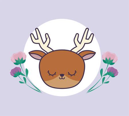 head of cute reindeer in frame circular with flowers vector illustration design Foto de archivo - 134882395