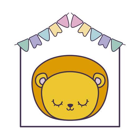 head of cute lion in frame with garlands hanging vector illustration design Foto de archivo - 134882505