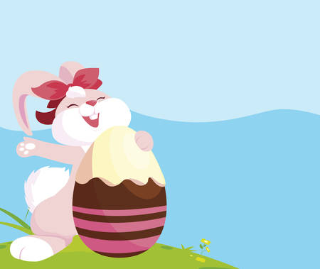 cute rabbit easter female with egg painted in the camp vector illustration design Foto de archivo - 134882485