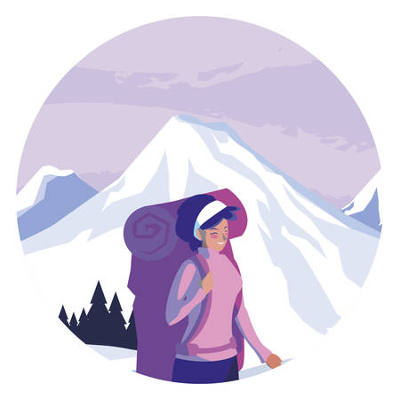 adventurous woman with travelbag in the snowscape vector illustration design  イラスト・ベクター素材