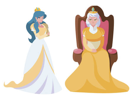 beautiful princess with queen on throne of tales character vector illustration design