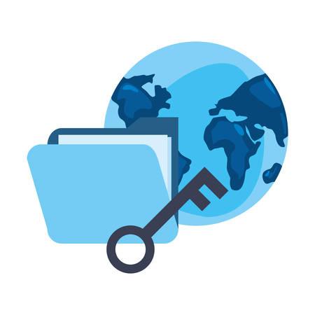 world folder key cybersecurity data protection vector illustration Illusztráció