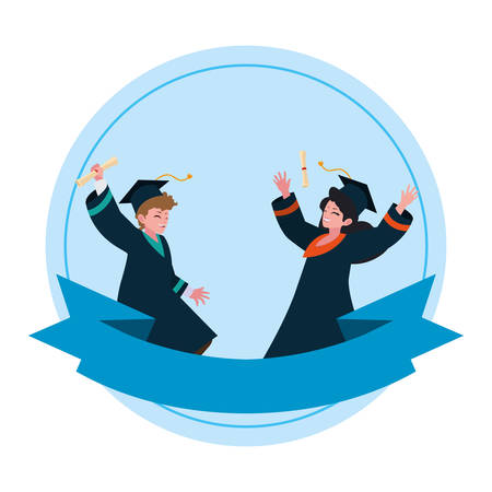 young couple students graduated celebrating vector illustration design
