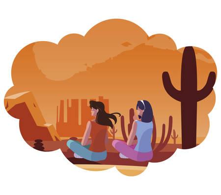 women contemplating horizon in the desert scene vector illustration design